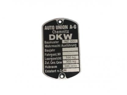 Tabliczka znamionowa DKW Nz350