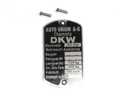 Tabliczka znamionowa DKW Nz250