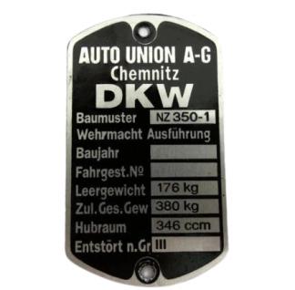 Tabliczka znamionowa DKW Nz350-1