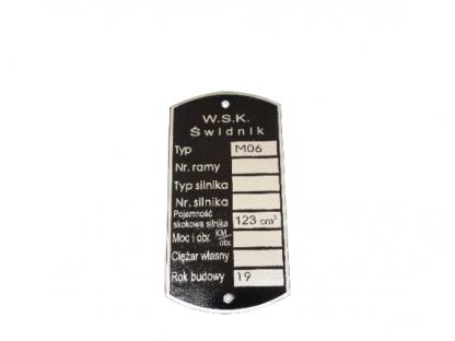 Tabliczka znamionowa WSK M 06