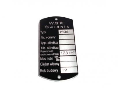 Tabliczka znamionowa WSK 125 M 06