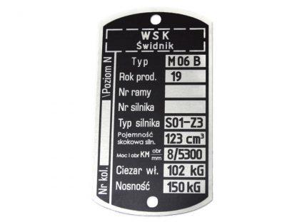 Tabliczka znamionowa WSK M 06 B