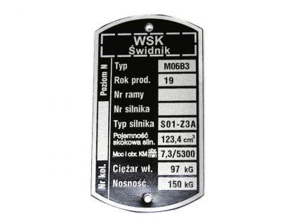 Tabliczka znamionowa WSK M 06 B3
