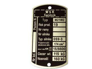Tabliczka znamionowa WSK 175 M21W2