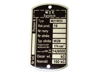 Tabliczka znamionowa WSK 175 M21W2S