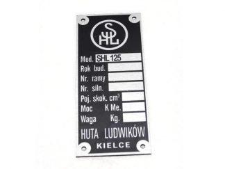 Tabliczka znamionowa SHL M04 125